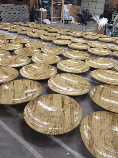 Faux wood lamp shades for NY fashion week. Painted at Infinite Scenic, NJ.