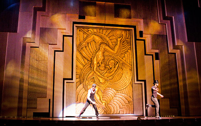 Striped metallic and glitter painted portals for  Paramour: Cirque du Soleil on Broadway . Painted via Infinite Scenic, NJ.