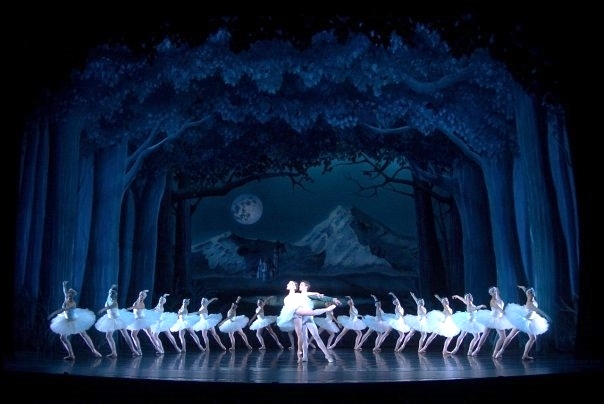 Scenic drops for Swan Lake at UNCSA. Painted under charge artist Carly Todd. Set Design by Dwayne Burgess.