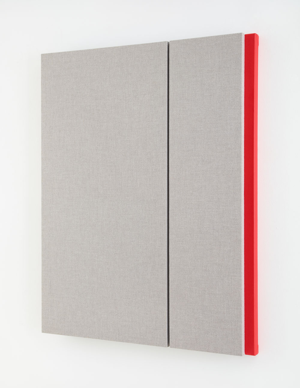 Quiet Gray with Red Reverberation #2, Acoustic absorber panel and acrylic paint on canvas 48 x 38 inches, 2014