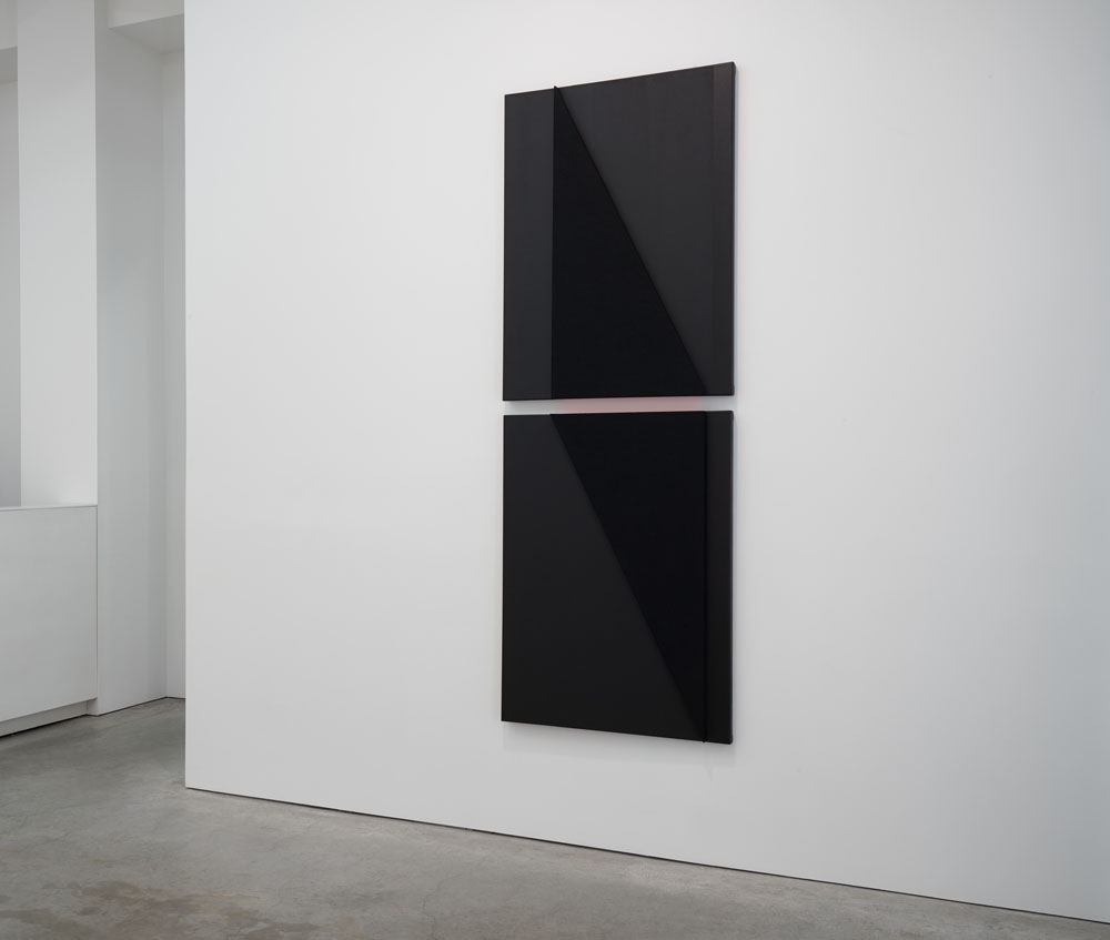 Vertical into Decrescendo (dark), -- Acoustic absorber panel and acrylic paint on canvas,  98.25 x 36 inches overall, 2014