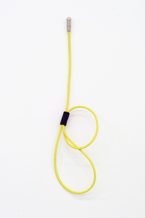 Feedback Loop- Neon Fragment #1 -  Noise canceling instrument cable, brass wire and felt.   18 x 8 x 2 inches, 2012
