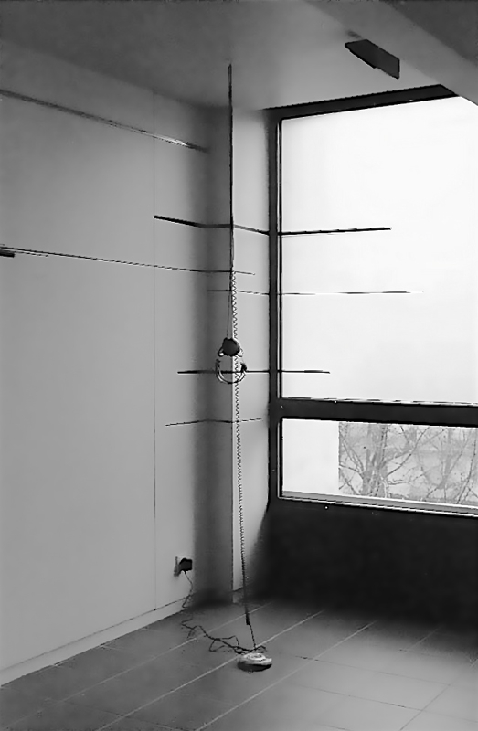 Slow Birds - site specific corner drawing and sound – gaffers tape, Discman sound piece. Cite des Arts, Paris, France 2002