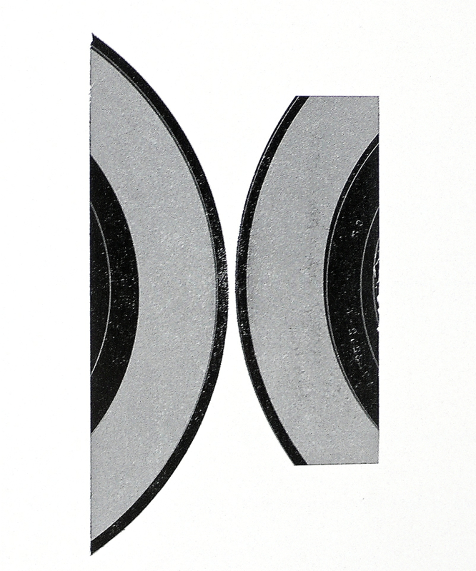 Two LP's for Brancussi,  relief print of 45 records, 8 x 10 in. conceived 2005, printed at The Center for Book Arts, NY 2010