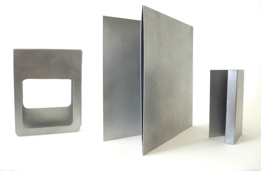 Song Containers --hand brushed aluminum, to scale. Packaging of: 8Track, Cassette, 45 LP and Standard LP. Edition of 10 sets. 2011