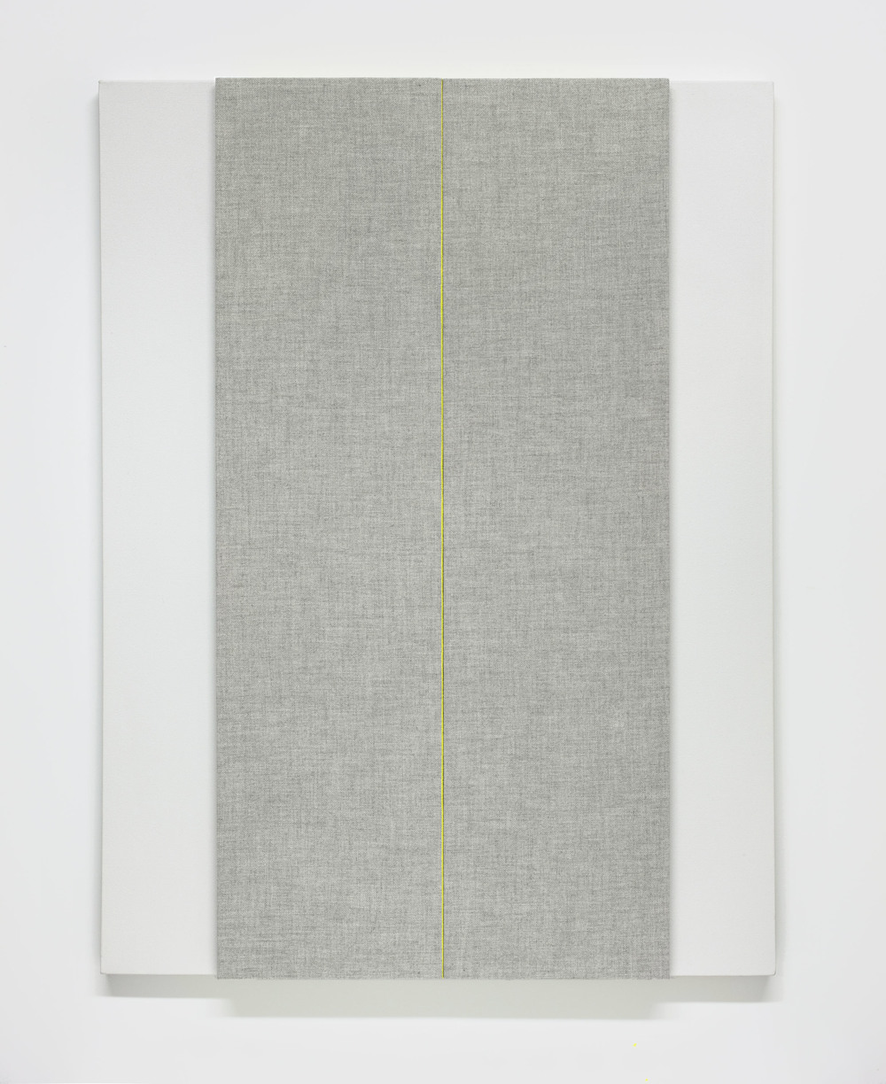Light Gray with Middle C (variation #2)-- Acoustic absorber panel and acrylic paint on canvas, 36 x 48 inches, 2013.