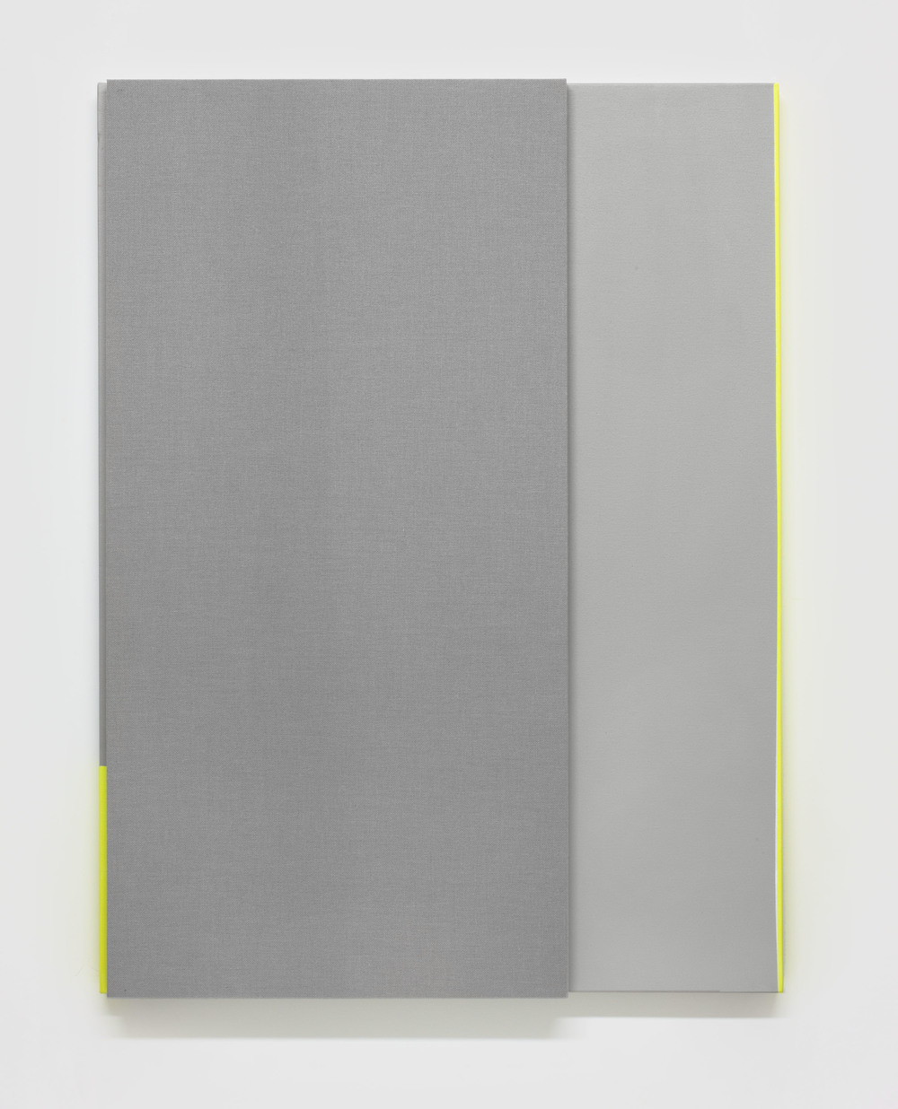 Soft Gray Tone with Reverberation #2 -- Acoustic absorber panel and acrylic paint on canvas, 36 x 48 inches each, 2013.