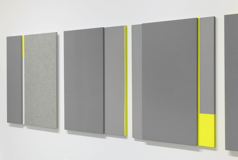 Soft Gray Tone with Reverberation #1-3 -- Acoustic absorber panel and acrylic paint on canvas, 36 x 48 inches each, 2013.