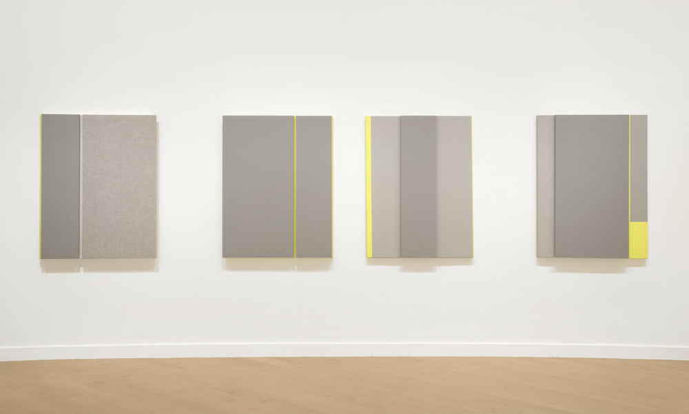 Soft Gray Tone with Reverberation #1-4, Acoustic absorber panel and acrylic paint on canvas, 36 x 48 inches each, 2013.