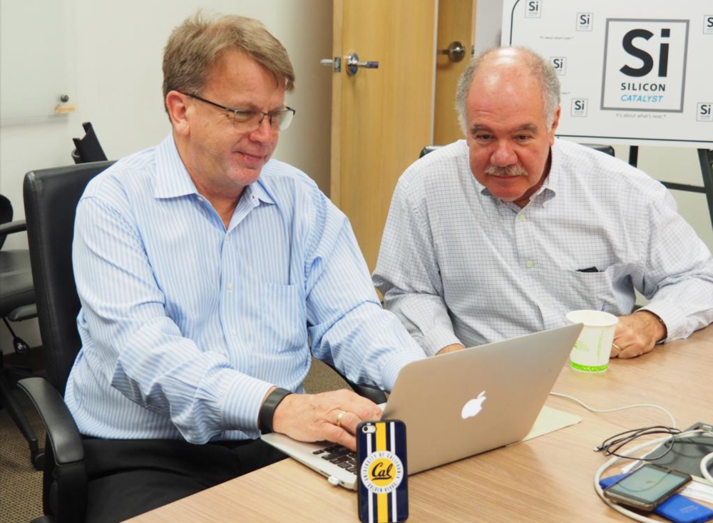 Rick Lazansky, left, handed the reins at Santa Clara semiconductor incubator Silicon Catalyst to Pete Rodriguez, right, in June.  Lazansky is now chairman and Rodriguez is CEO.