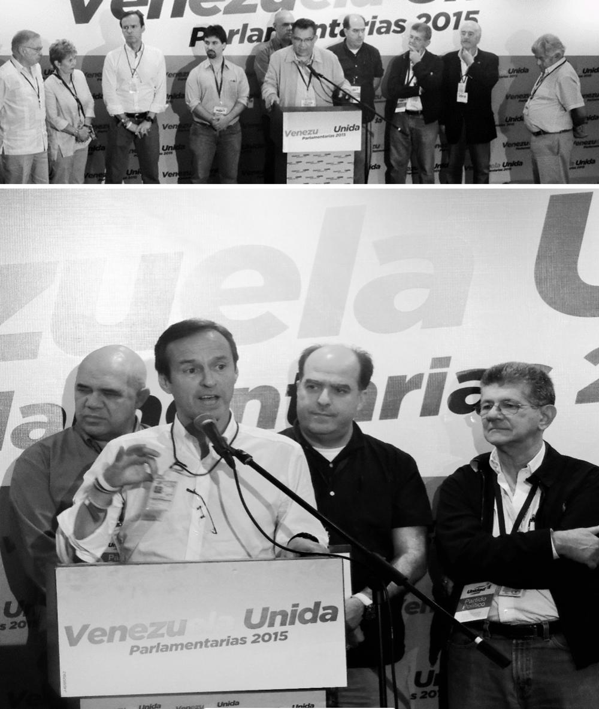 """PROTESTAN EXTENSIÓN ILEGAL DEL ACTO DE VOTACIÓN POR EL CNE Noticias 24 / Redacción 800Noticias, 6 de diciembre de 2015.. La Mesa de la Unidad Democrática (MUD), rechazó la extensión del cierre de mesas electorales una hora más tarde de lo pautado, a las 7:00 p.m., sin que hubiera electores en las colas emitida por el Consejo Nacional Electoral (CNE). También exhortó a sus seguidores a tener confianza en el proceso electoral y aseguró que será pleno reflejo de la voluntad de los venezolanos. Las declaraciones fueron del dirigente Julio Borges, quien llamó a la tranquilidad basándose en las personas que están en los centros de votación trabajando como testigos para resguardar las mesas y denunciar las incidencias. Afirmó que para la coalición opositora a la que pertenece,""""no tiene justificación que el CNE pretenda artificialmente mantener los centros abiertos cuando el pueblo venezolano se expresó de manera clara"""". Expresó que desde la MUD, """"no vamos a aceptar más prórrogas generalizadas. El pueblo ya se expresó. Respetan la opinión, el voto y la voluntad de nuestro pueblo"""". Asimismo, reiteró lo dicho por Torrealba: """"Hasta que no haya la orden de que toda las mesas deben cerrar (…)para nosotros están todas las alarmas prendidas"""". La dirigencia de la Mesa de la Unidad Democrática (MUD), acompañada de los ex presidentes Iberoamericanos integrantes de la misión de acompañamiento electoral de IDEA, reiteraron la tarde de este domingo que los centros de votación deben cerrar a las 6 de la tarde, como lo establece la Ley, exceptuando aquellos centros en los que haya electores haciendo cola. """"Del por ahora pasamos al como sea, en una democracia no existe el como sea"""" dijo el ex presidente de Bolivia Jorge Quiroga, enfatizando que """"en democracia se cumplen las reglas, hay un horario para cerrar las mesas (…) esperamos que se cumpla"""" """"Le reiteramos a Jorge Rodríguez y Nicolás Maduro, que a las 6 de la tarde, todas las mesas que no tengan electores en las colas, deben cerrar"""" d"""