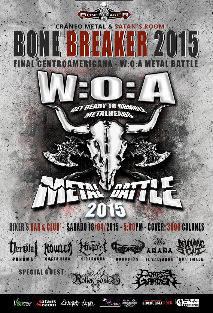 We will be performing in the W:O:A METAL BATTLE 2015, Centralamerica final!