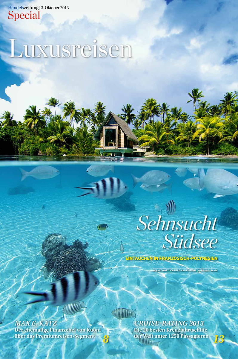 Cover of the luxury travel supplement to the Swiss newspaper  Handelszeitung.