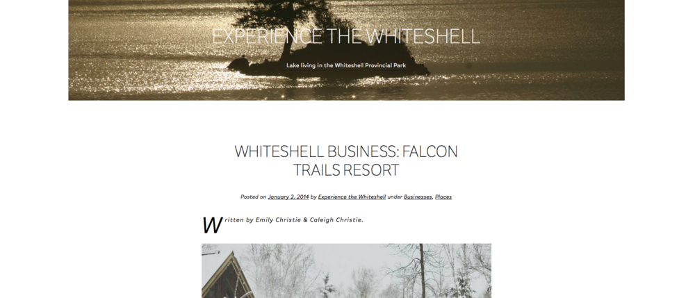 Falcon Trails feature in Experience the Whiteshell travel blog