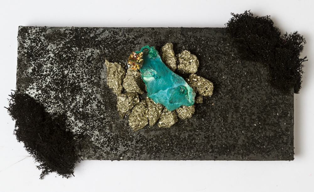 Traveling to Turiya: The Future Mapping Project, 2016  Crystals, moss, black salt, wood, fabric