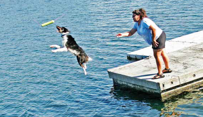Mountain View resident Ursula Kinley throws a toy to her dog Gunner at the Redwood Shores Lagoon in Redwood City.  Photo by Michael Mullady.