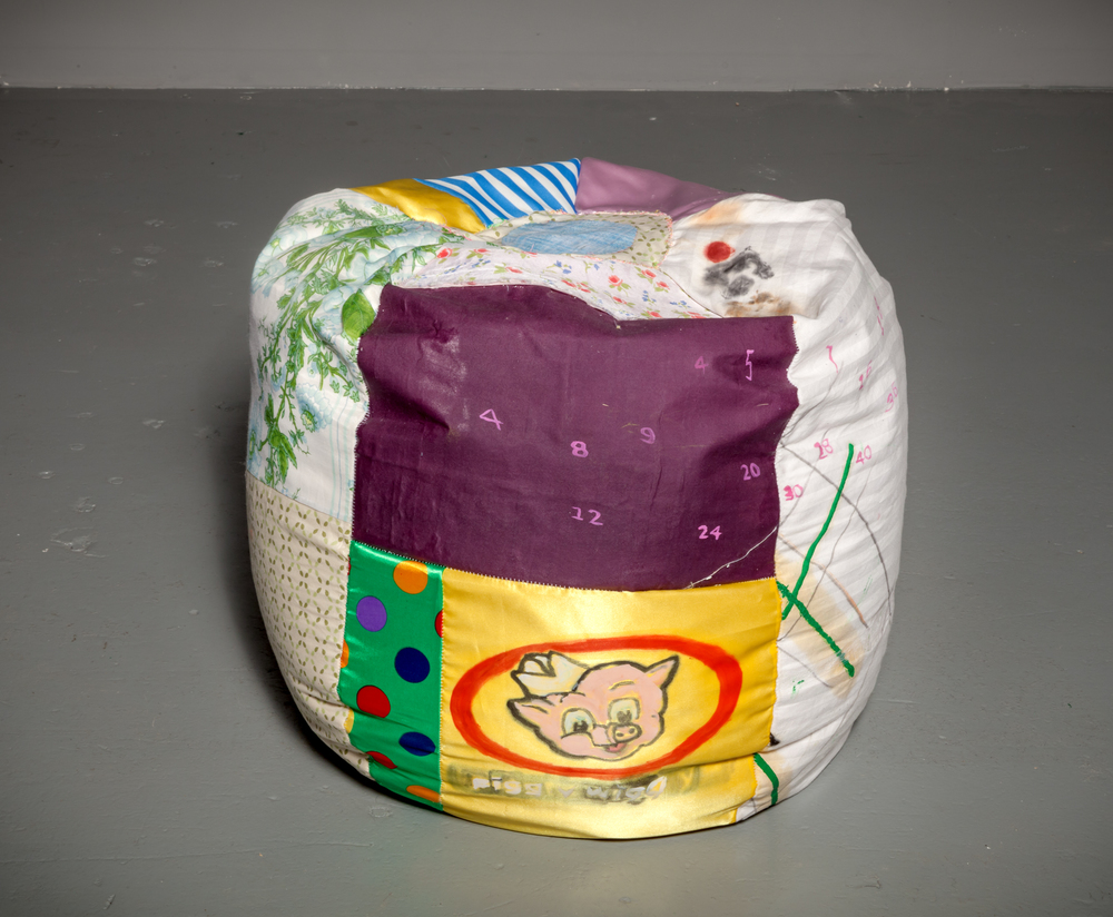 Tameka Jenean Norris   Mercury (Soft Sculpture #1 small) , 2014 fabric paint, oil paint, canvas, fabric, recycled stuffing and bag filler 18 x 23 x 23 inches 45.7 x 58.4 x 58.4 cm