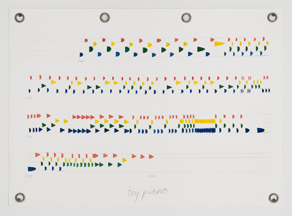 Ander Mikalson   Score for a Cyclone (Toy Piano),  2013 watercolor and graphite on paper, metal grommets 22 x 30 inches