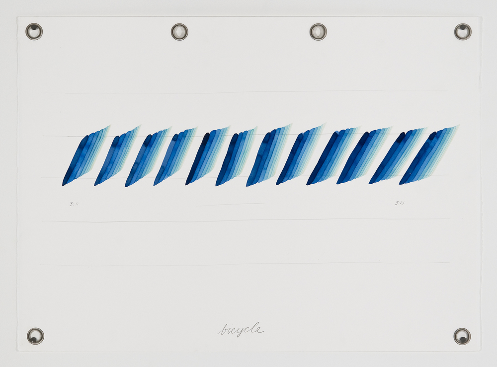 Ander Mikalson   Score for a Cyclone (Bicycle),  2013 watercolor and graphite on paper, metal grommets 22 x 30 inches