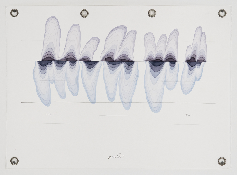 Ander Mikalson   Score for a Cyclone (Water),  2013 watercolor and graphite on paper, metal grommets 22 x 30 inches