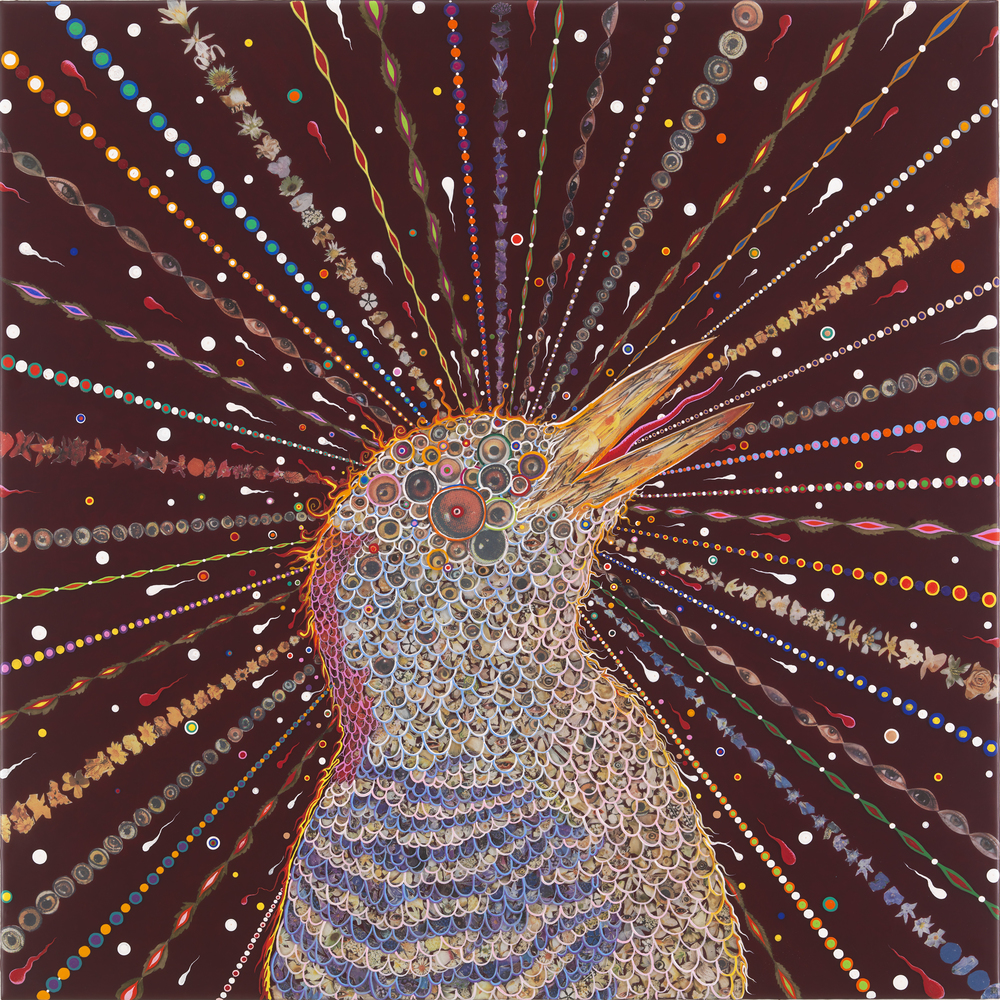 Fred Tomaselli   Red Bird Two,  2014 photo-collage, leaves, acrylic and resin on wood panel 24 x 24 inches