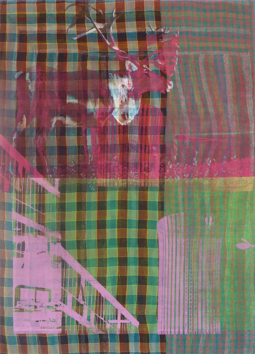 Shezad Dawood   Carimbemba , 2012 acrylic on vintage textile 68.9 x 49.61 inches 175 x 126 cm
