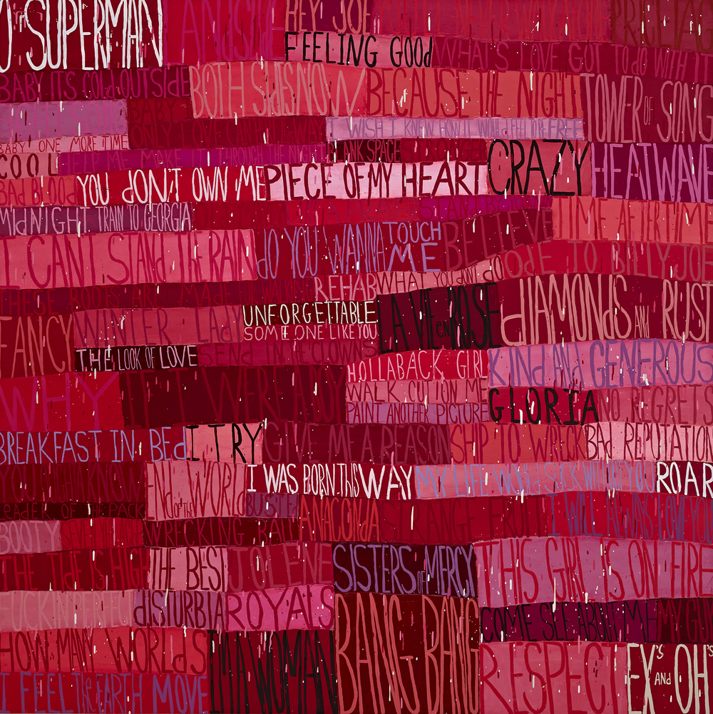 Squeak Carnwath   Girls , 2015 oil and alkyd on canvas over panel 75 x 75 inches 190.5 x 190.5 cm