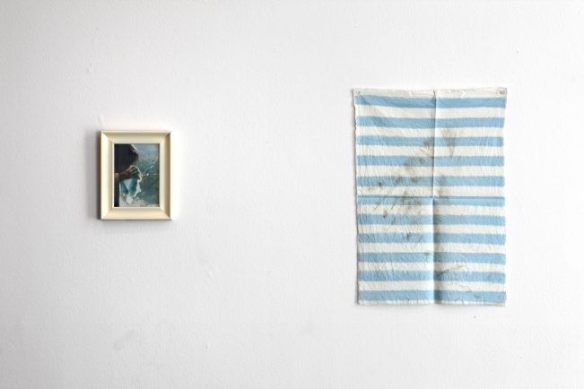 Lee Kit, hand-painted cloth used to clean window, 2008, S.M.A.K. Collection.