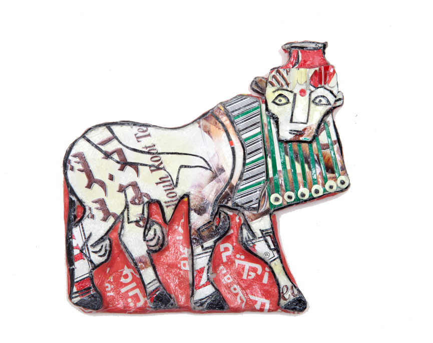 Michael Rakowitz   May The Obdurate Foe Not Stay in Good Health - Stone inlay depicting a human-headed bull, Ebla , 2016 Syrian and other Middle Eastern packaging and newspapers, glue 3.94 x 5.91 inches 10 x 15 cm Courtesy of the artist and Jane Lombard Gallery, NY
