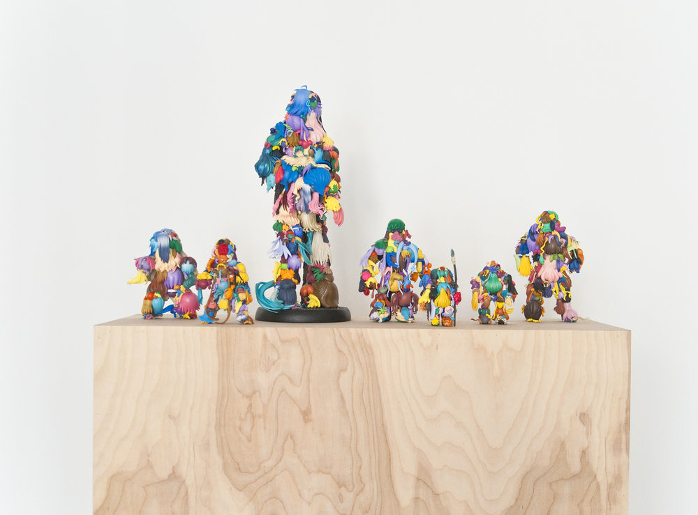 Teppei Kaneuji   Teenage Fan Club #66-#72 , 2015 plastic figures, hot glue dimensions variable