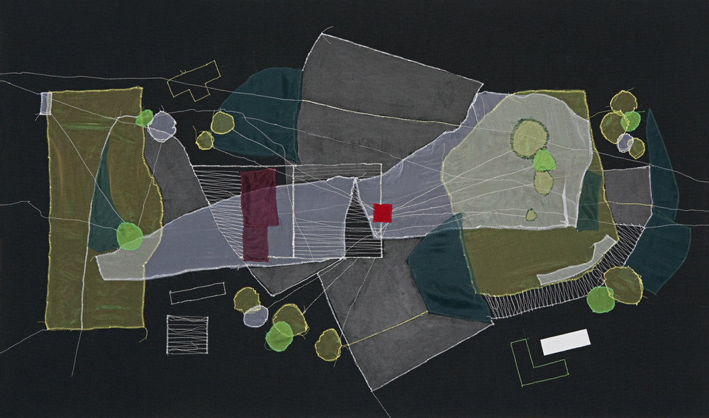 Christine Gedeon   OSH, Brooklyn (Plot re-visualized) , 2012 thread, fabric and paint on raw black canvas 32 x 54 inches 81.3 x 137.2 cm