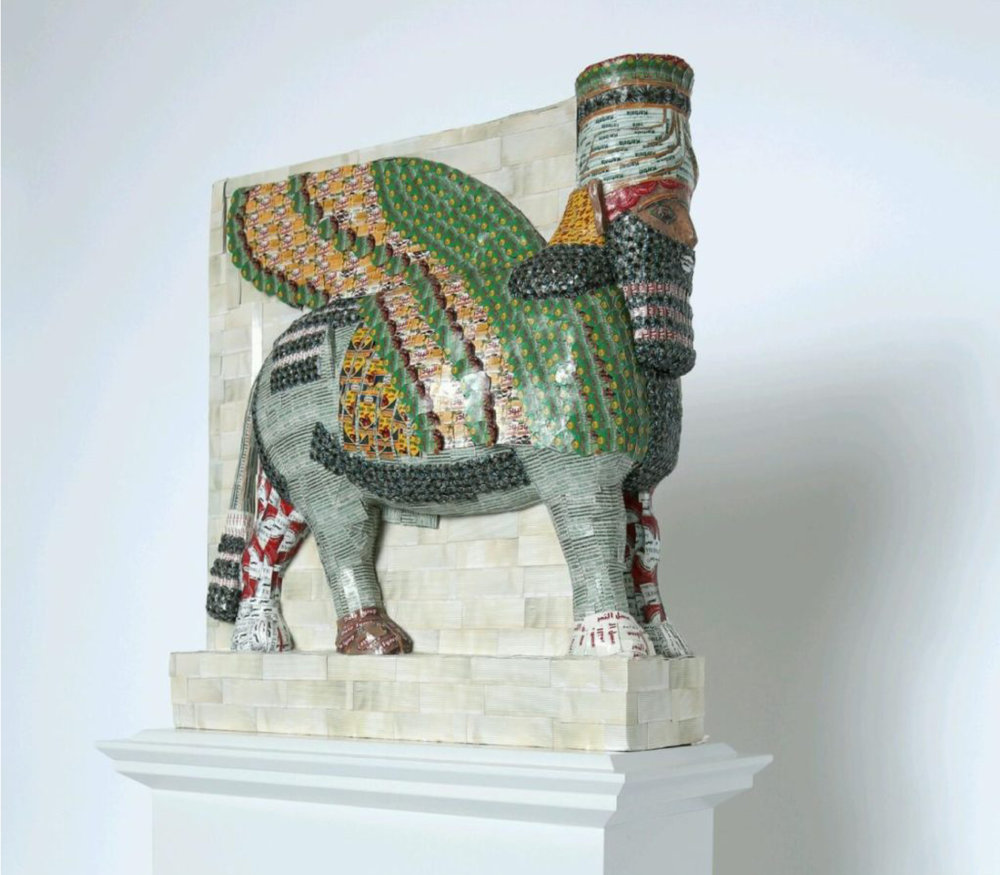 Michael Rakowitz, The Invisible Enemy Should Not Exist, 2016. A recreation of the Lamassu, a winged bull and protective deity, which was destroyed by ISIS in 2015. Photo: James O. Jenkins, courtesy of the artist.
