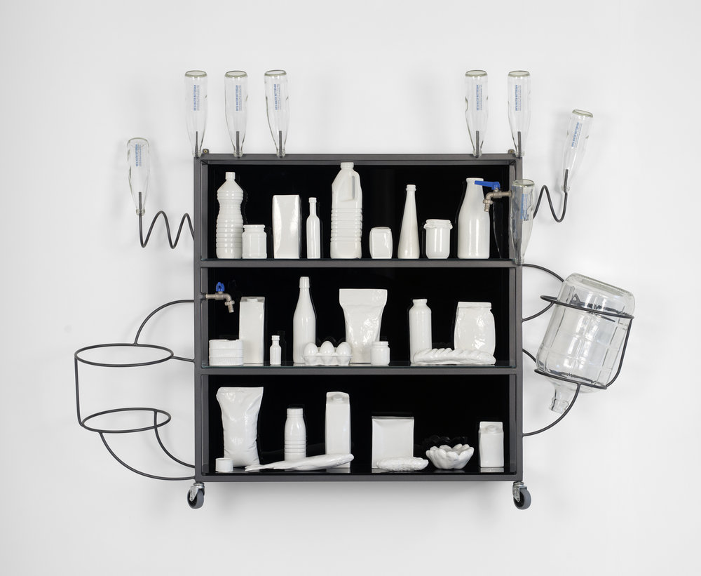 Lucy + Jorge Orta, Epicerie - Vitrine, 2014, steel structure, 28 cast aluminum polychrome, glass, 1 carafe, 8 OrtaWater bottles, 2 taps, 53.15 x 61.81 x 13.78 inches, 135 x 157 x 35 cm