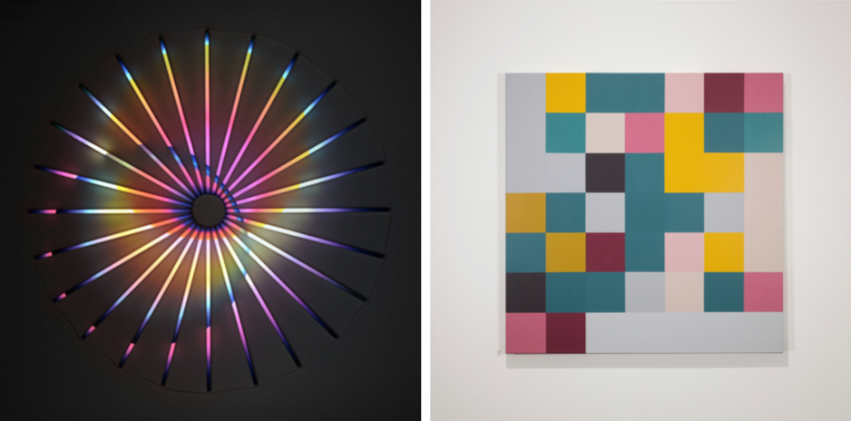 L:   James Clar   – Binary Star,  2016, LEDs, filters and wires, 75 x 75 in (190 x 190 cm)  R:     Kristin McIver   – Data Portraits (Ben Lee) , 2015, acrylic on canvas, 36 x 36 in (91.5 x 91.5 cm)