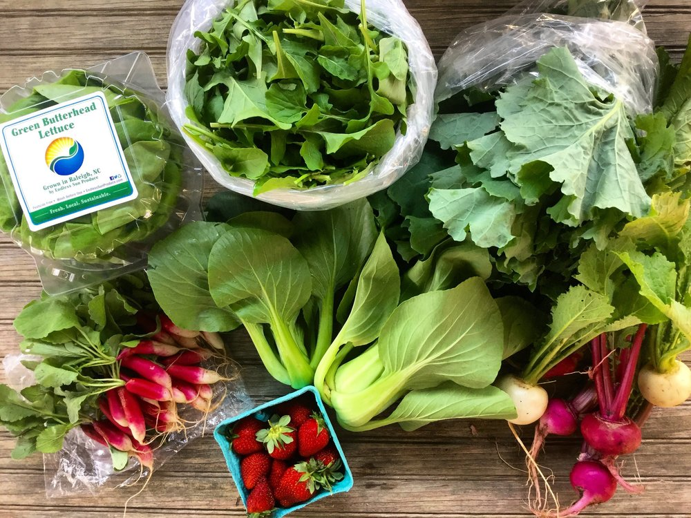 Yes ma'am, that's a beautiful bunch of NC produce. Photo courtesy of Farmers' Collective.