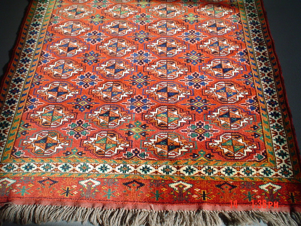#18) 4 x 6 Turkoman rug, Afghanistan. Older rug, new condition, tight weave, very pretty.