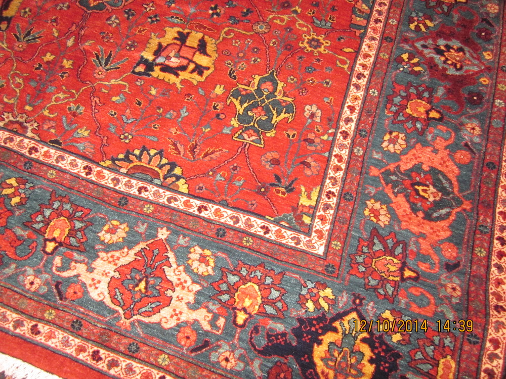 #18b) Persian Bijar rug, border close-up.