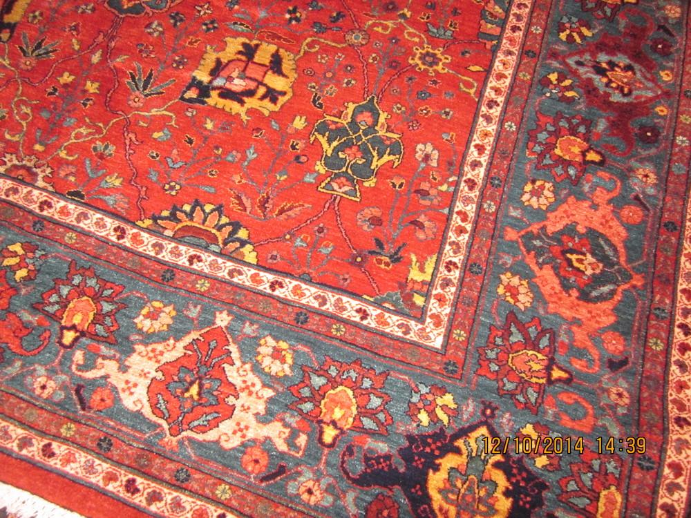 #22) Persian Bijar rug, border close-up.
