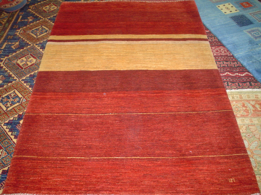 "#3) 3'3"" x 4'8"" red and yellow Kashkuli Gabbeh.  Finely woven in a lovely, simple design."