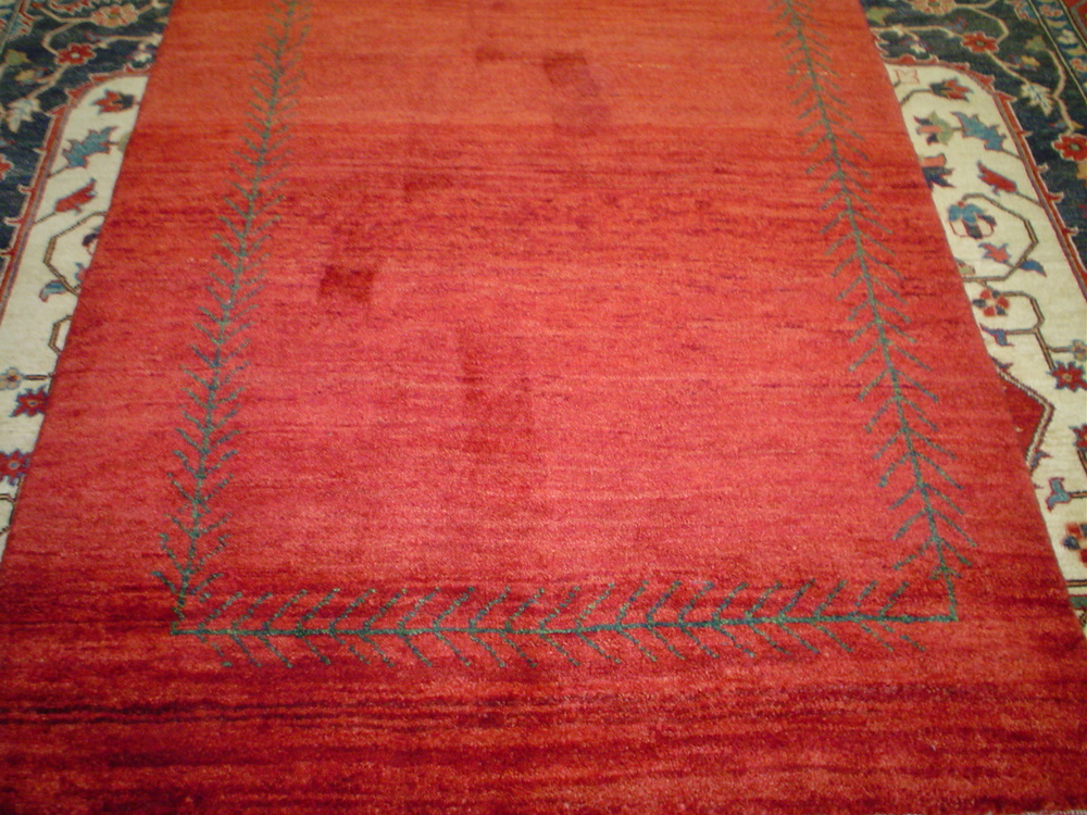 "#30) 3'8"" x 5'7"" veg dyed Gabbeh rug from Zollanvairi. Woven in Iran. Pretty rug."