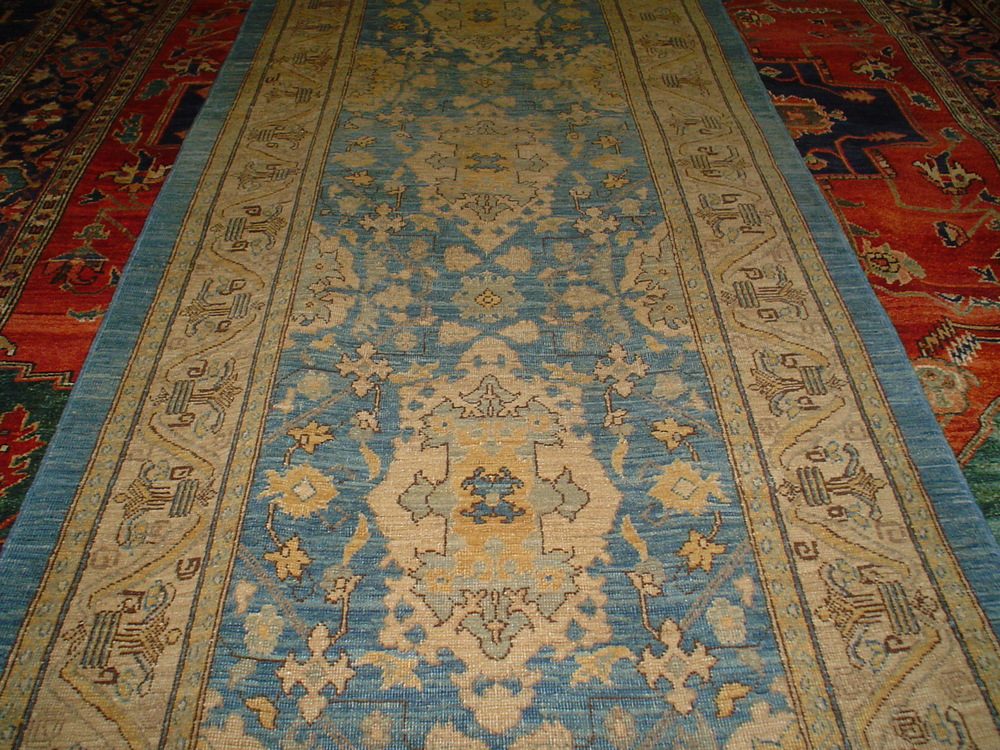 #6) 3' x 15' Agra runner in light blue. Afghanistan.