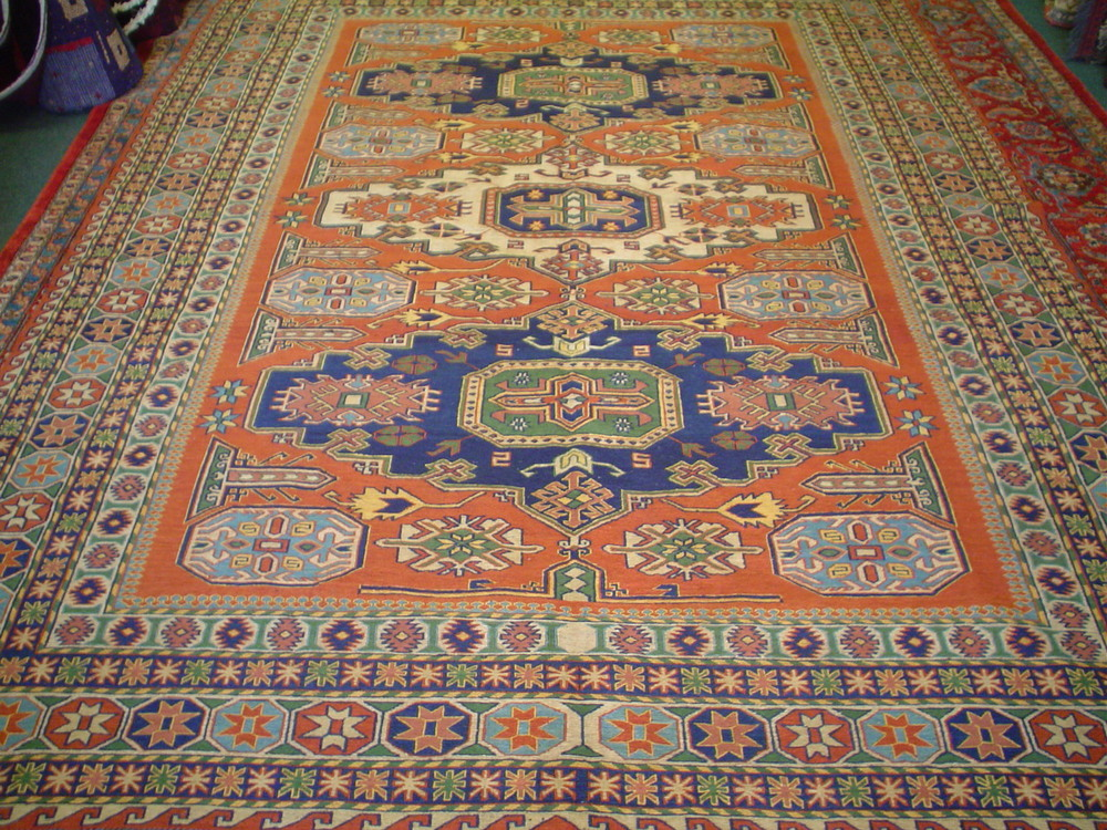 "#13)  Afghan Soumak rug. 7'3"" x 10. Finely woven with natural dyes. Soumak is a flat weave, similar to a kilim."