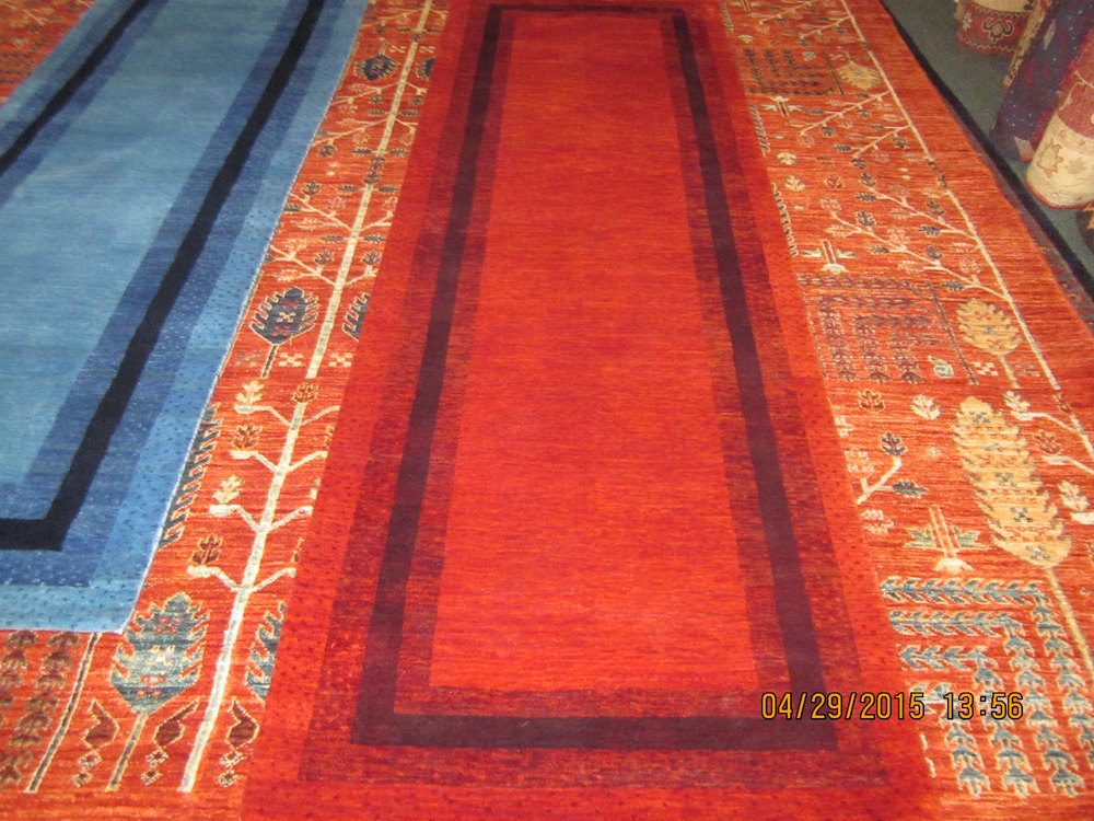 "#9) 2'7"" x 8' Red Indo Gabbeh."