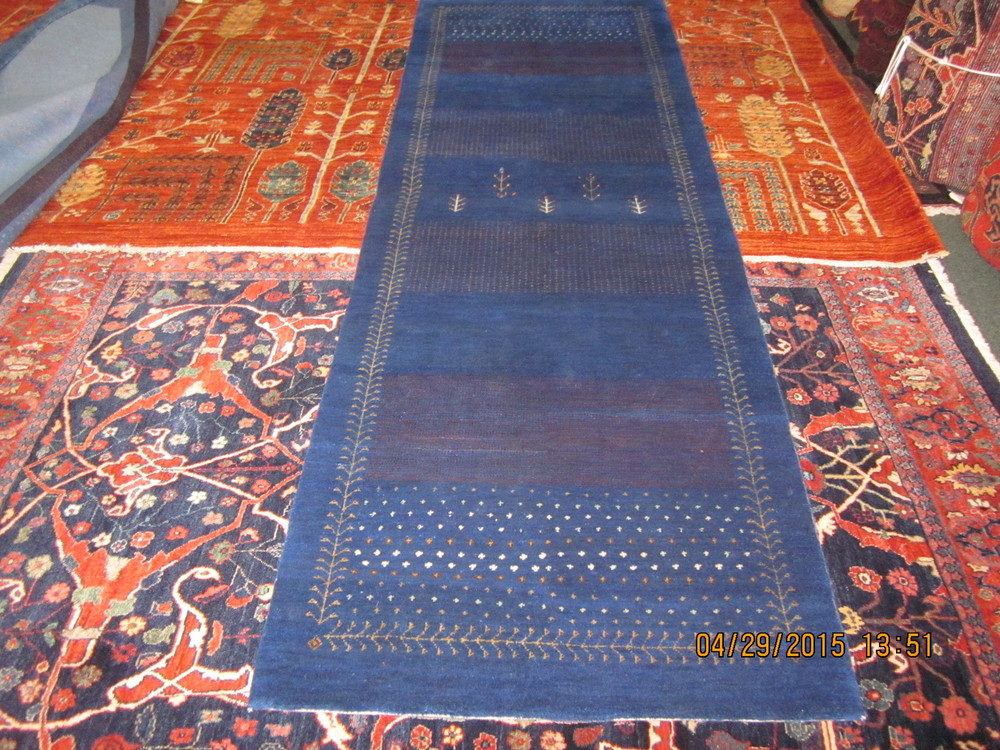 "#11) 2'7"" x 8 Navy Gabbeh runner. Beautiful contemporary design. India."