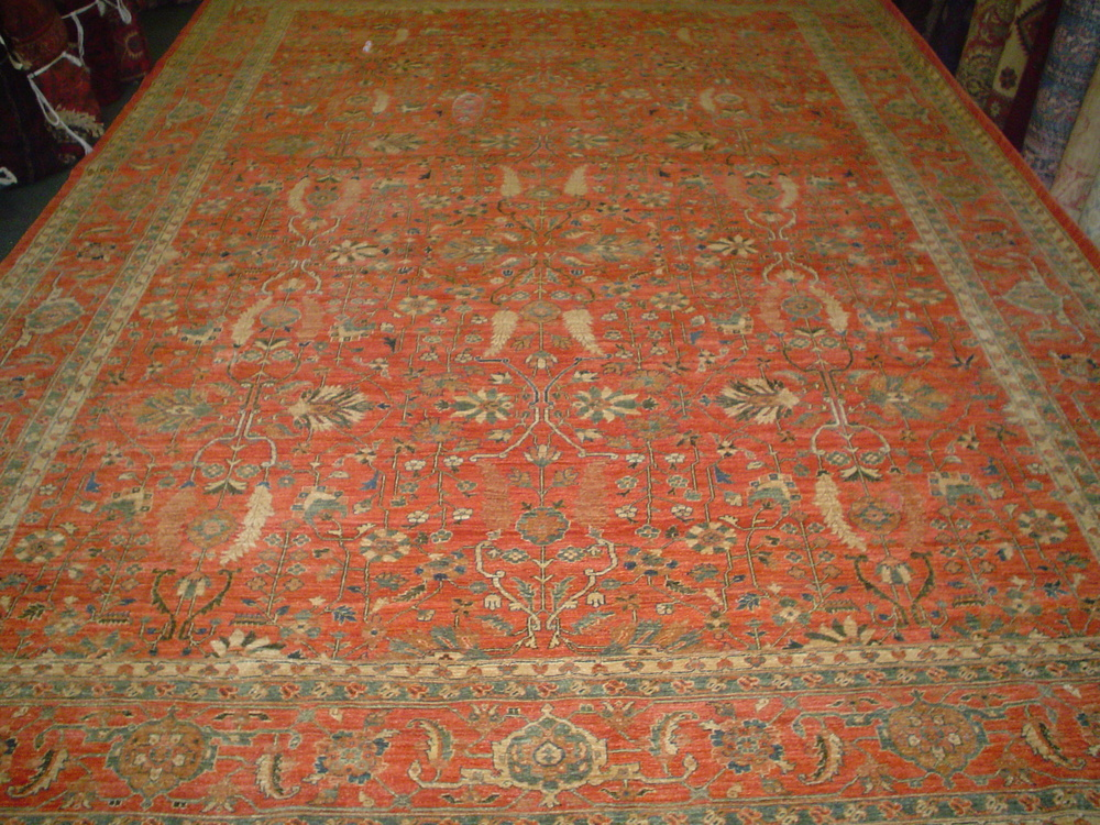 #20) Gorgeous 10 x 14 Sultanabad rug. Afghanistan. Salmon with soft blue-green accents in an overall design.