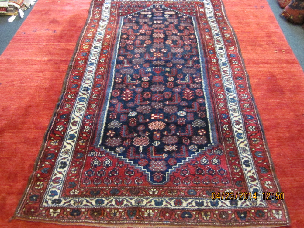 """#31) 4'2"""" x 7'1"""" Antique Kurdish rug with full pile, good dyes and silky wool."""