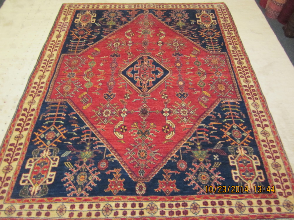 "#32) 5'1"" x 6'6"" Qashqai in jewel tones. Woven perfection!"