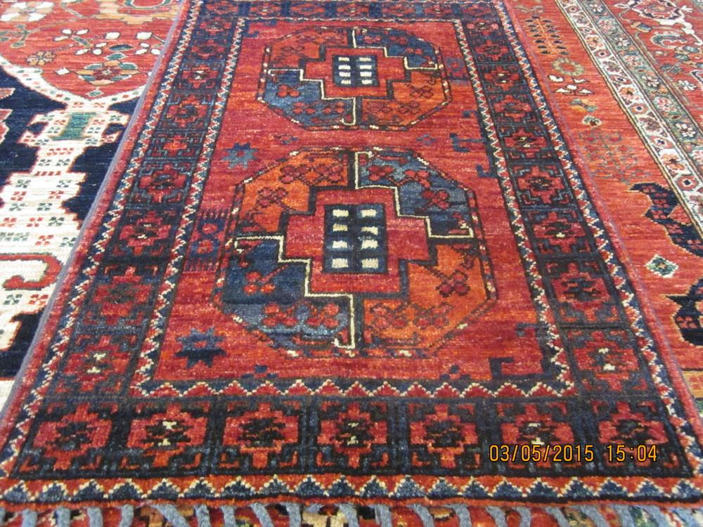 "#24) 2' x 3'3"" Ersari Turkoman rug."