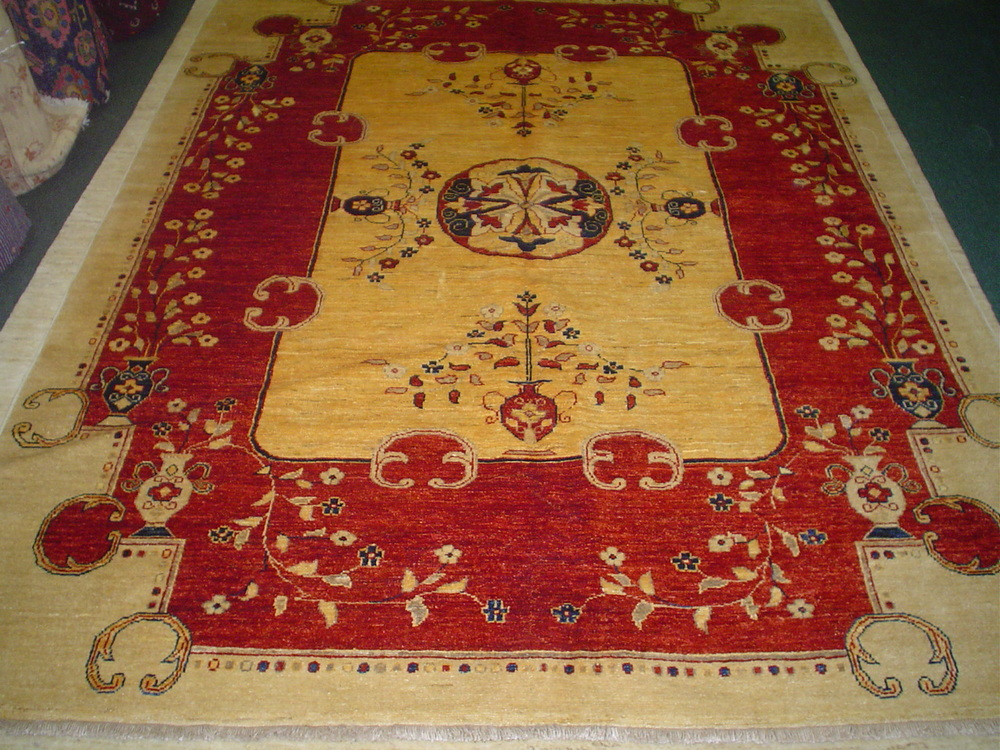 "#14) 6'5"" x 8'3"" East Turkestan design Afghan rug. Beautiful, sturdy rug."