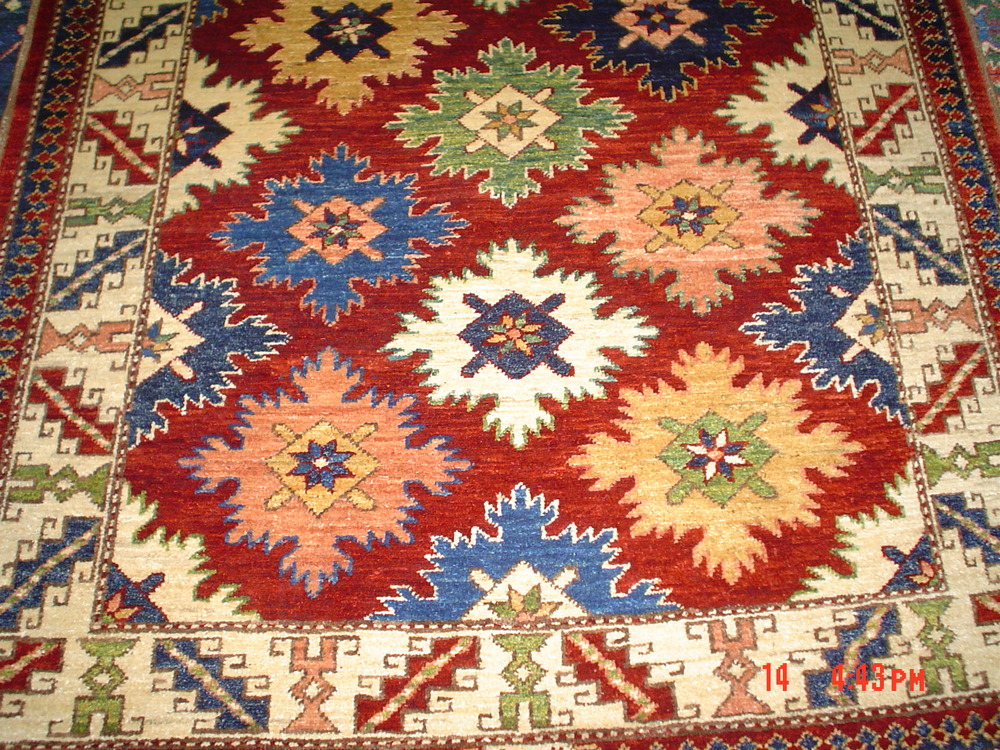 #1) 4 x 6 veg dyed Afghan Kazak.